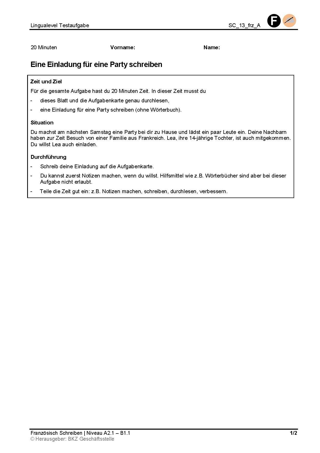 Preview image for LOM object Eine Einladung für eine Party schreiben