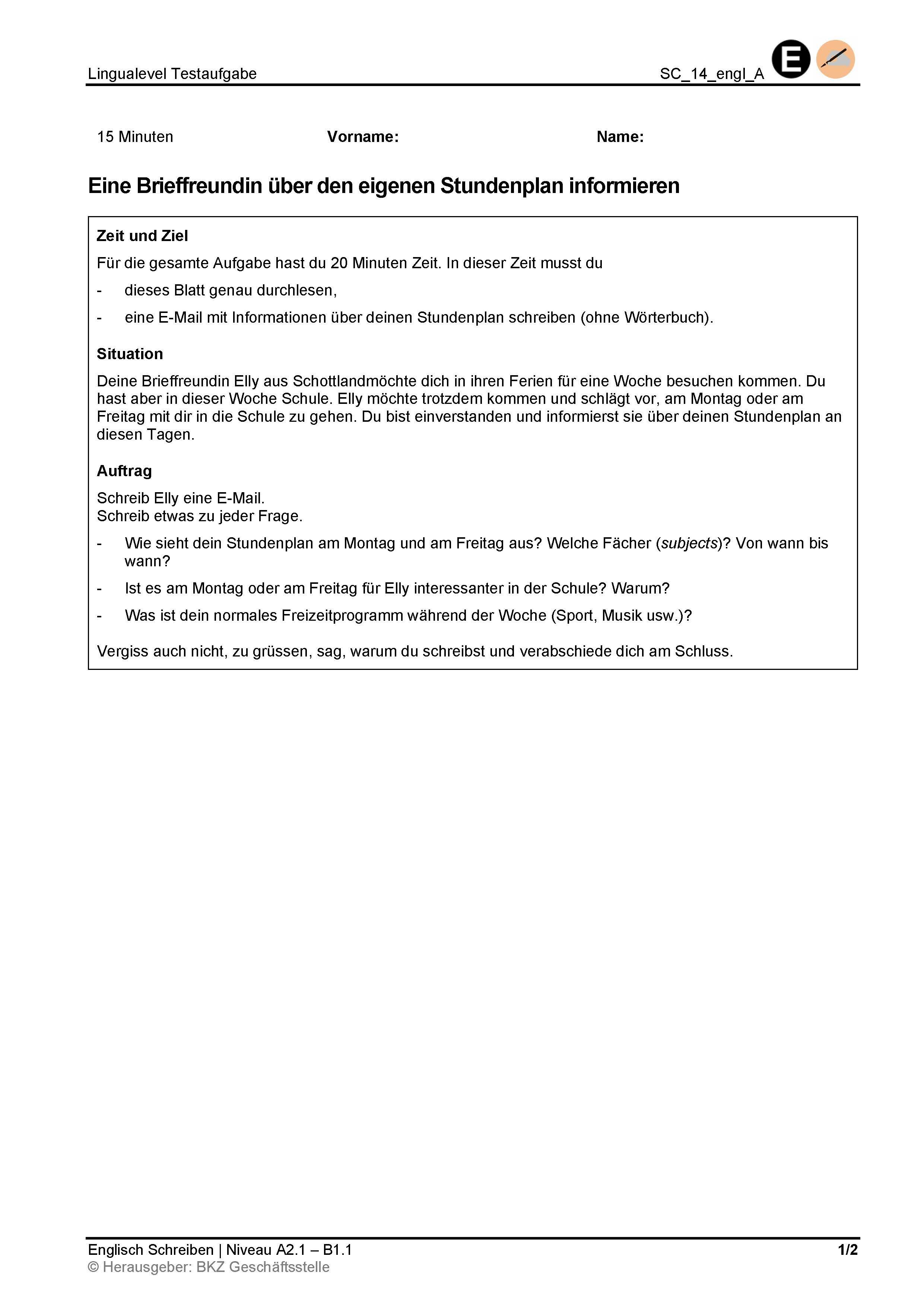 Preview image for LOM object Schreiben: Eine Brieffreundin über den eigenen Stundenplan informieren