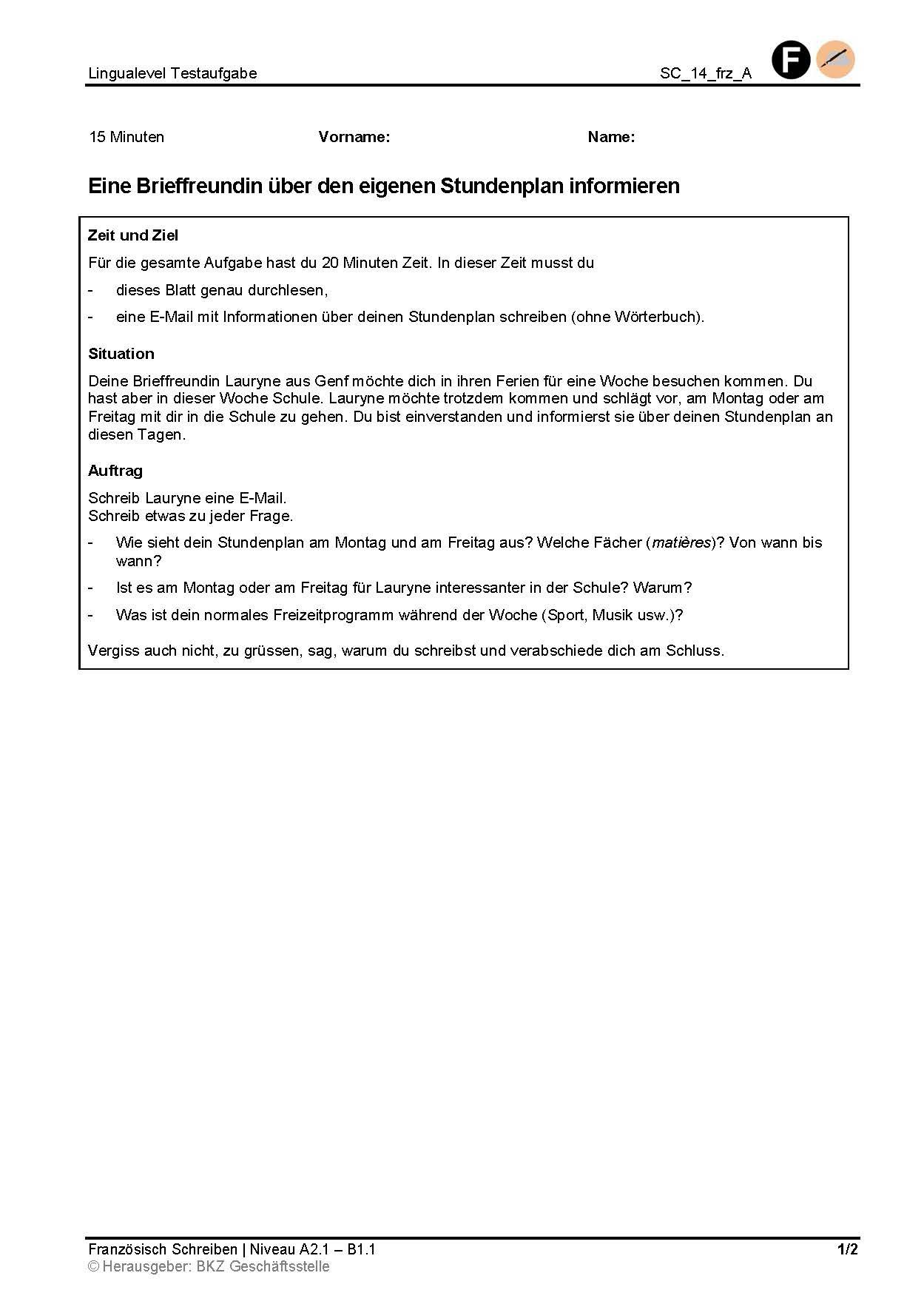 Preview image for LOM object Eine Brieffreundin über den eigenen Stundenplan informieren
