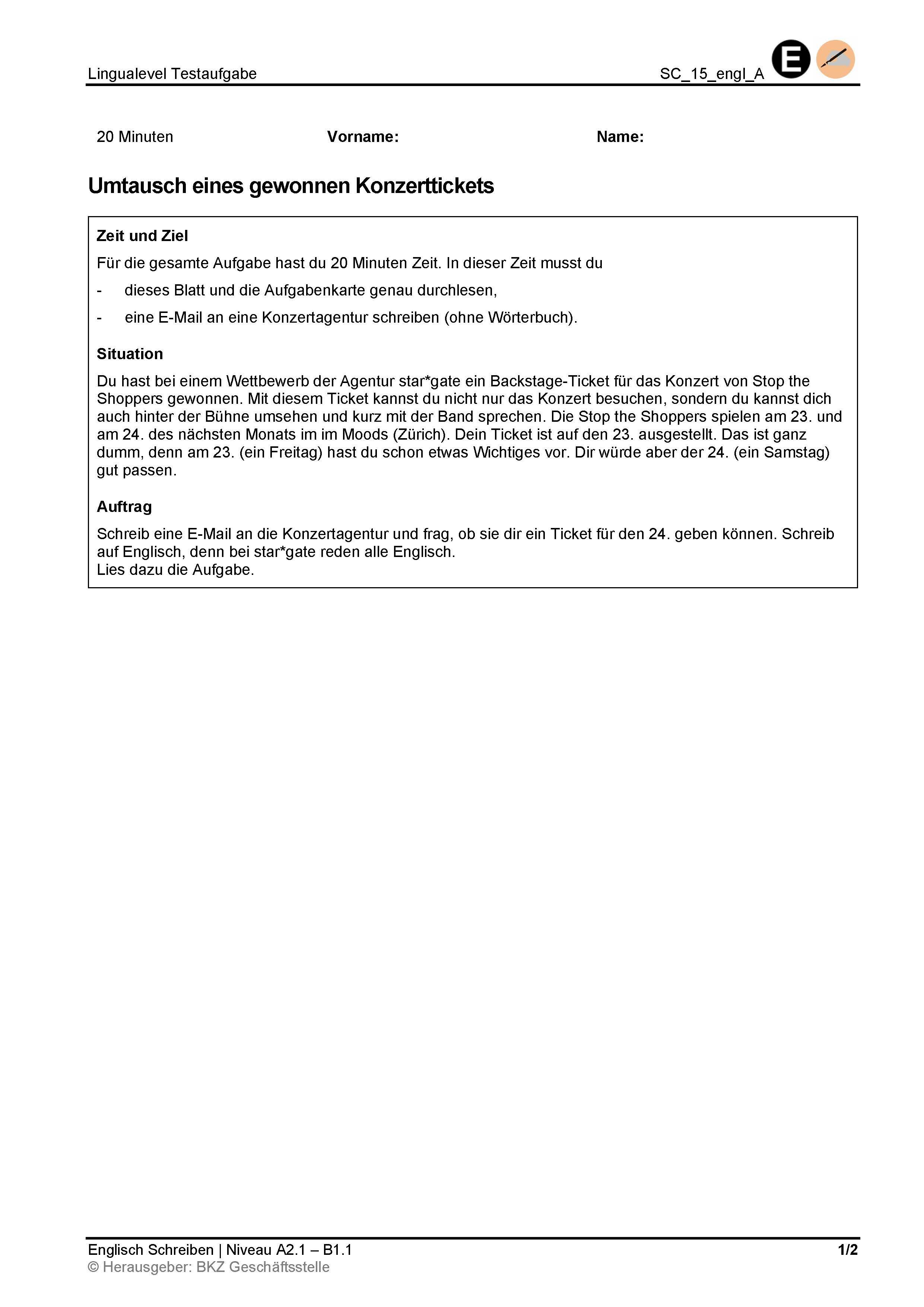 Preview image for LOM object Schreiben: Umtausch eines gewonnen Konzerttickets