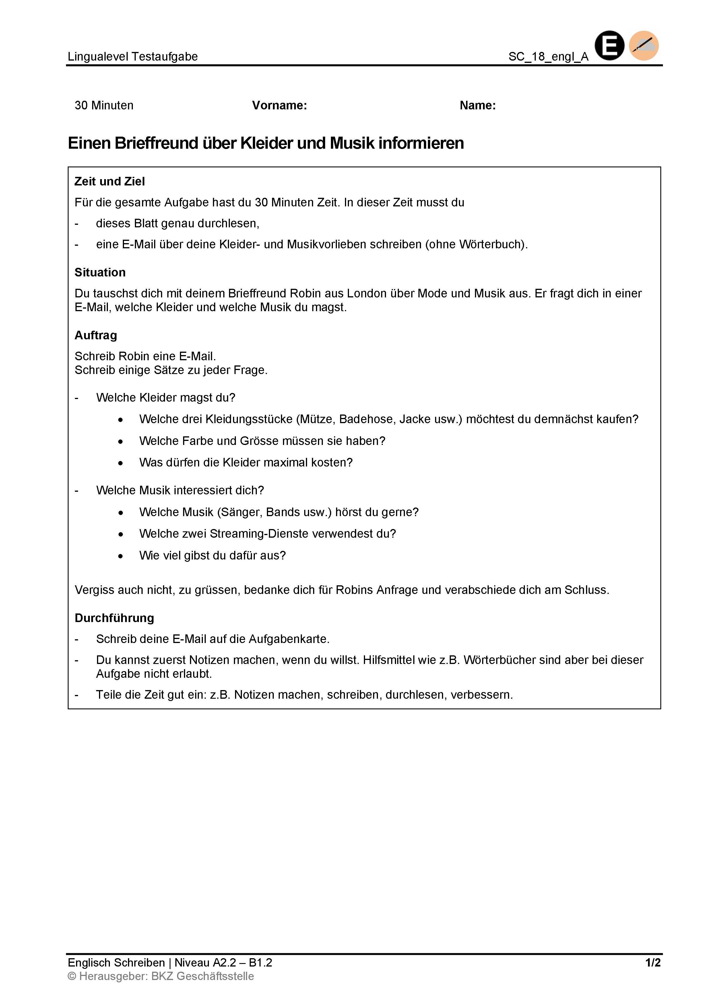 Preview image for LOM object Schreiben: Einen Brieffreund über Kleider und Musik informieren