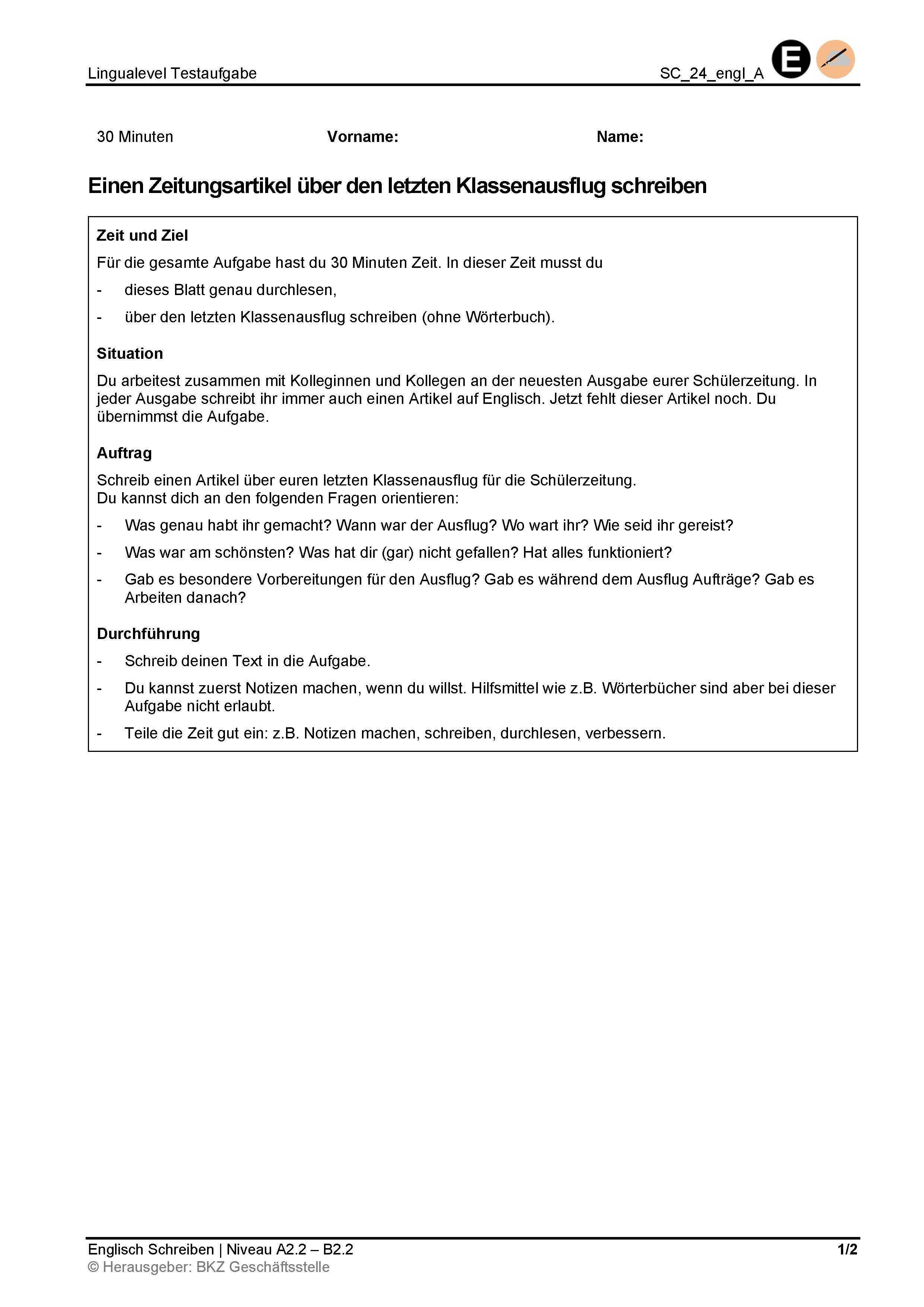 Preview image for LOM object Schreiben: Einen Zeitungsartikel über den letzten Klassenausflug schreiben