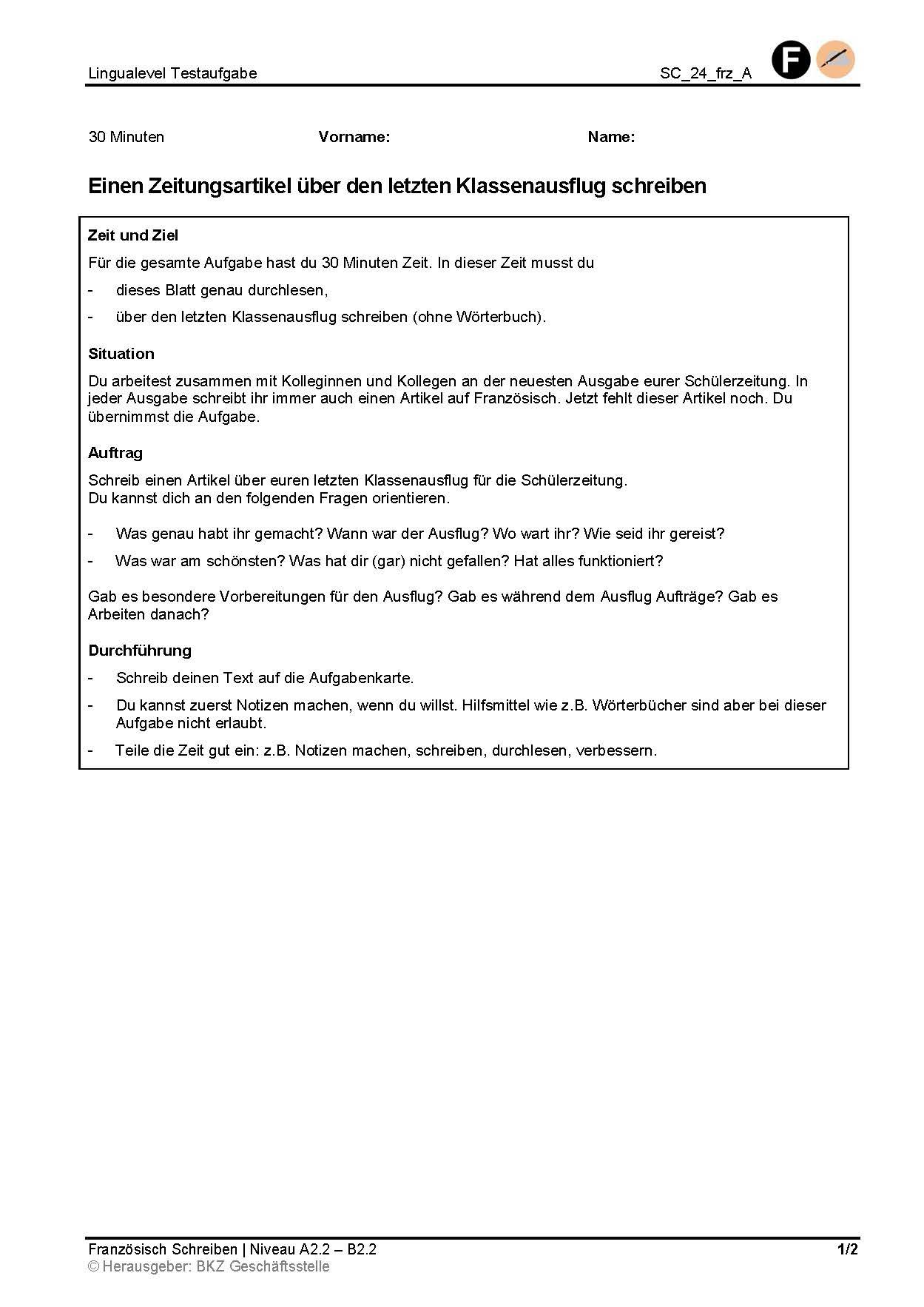 Preview image for LOM object Einen Zeitungsartikel über den letzten Klassenausflug schreiben