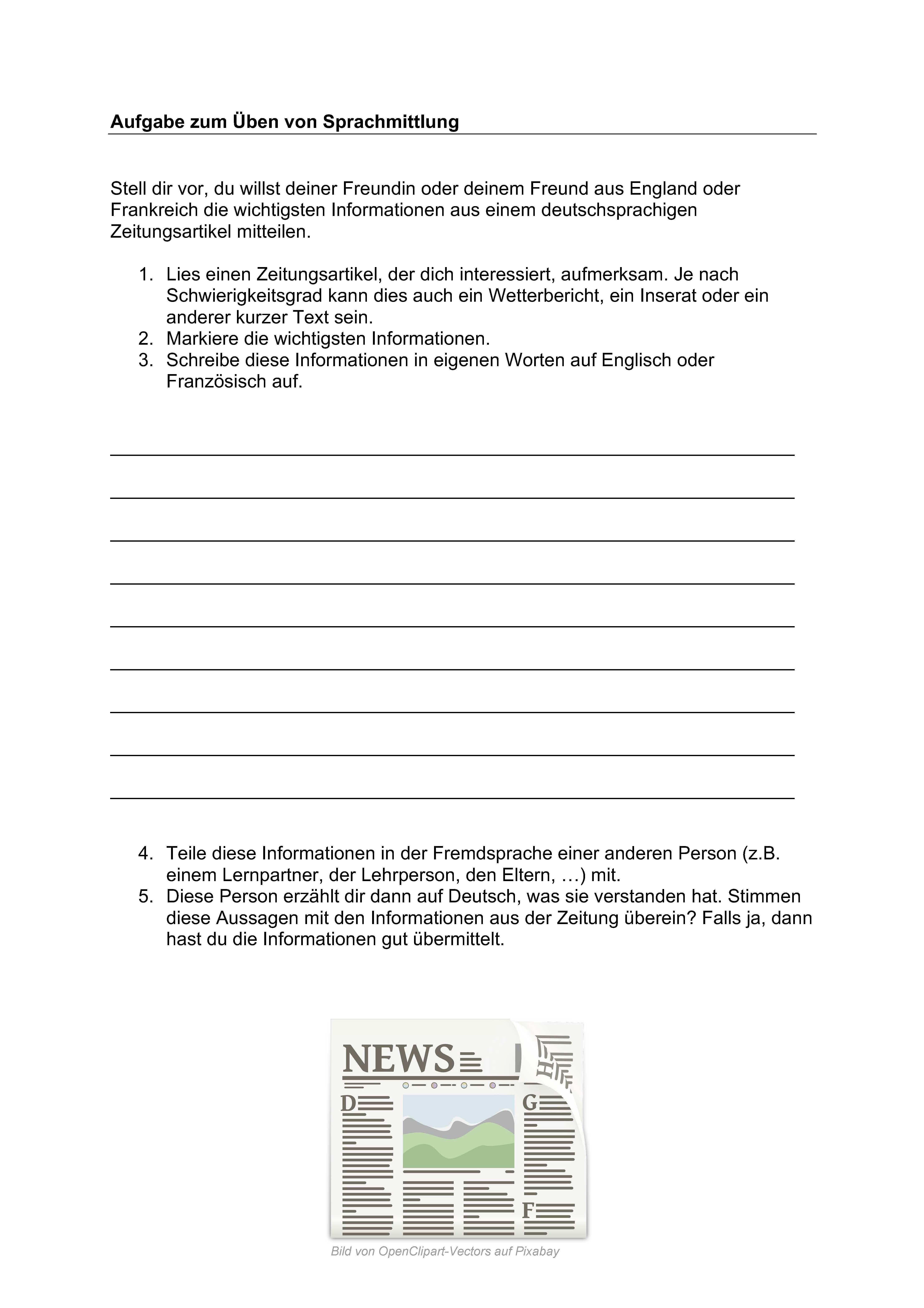 Preview image for LOM object Sprachmittlung / Mediation: Aufgabe mit Zeitungsartikel