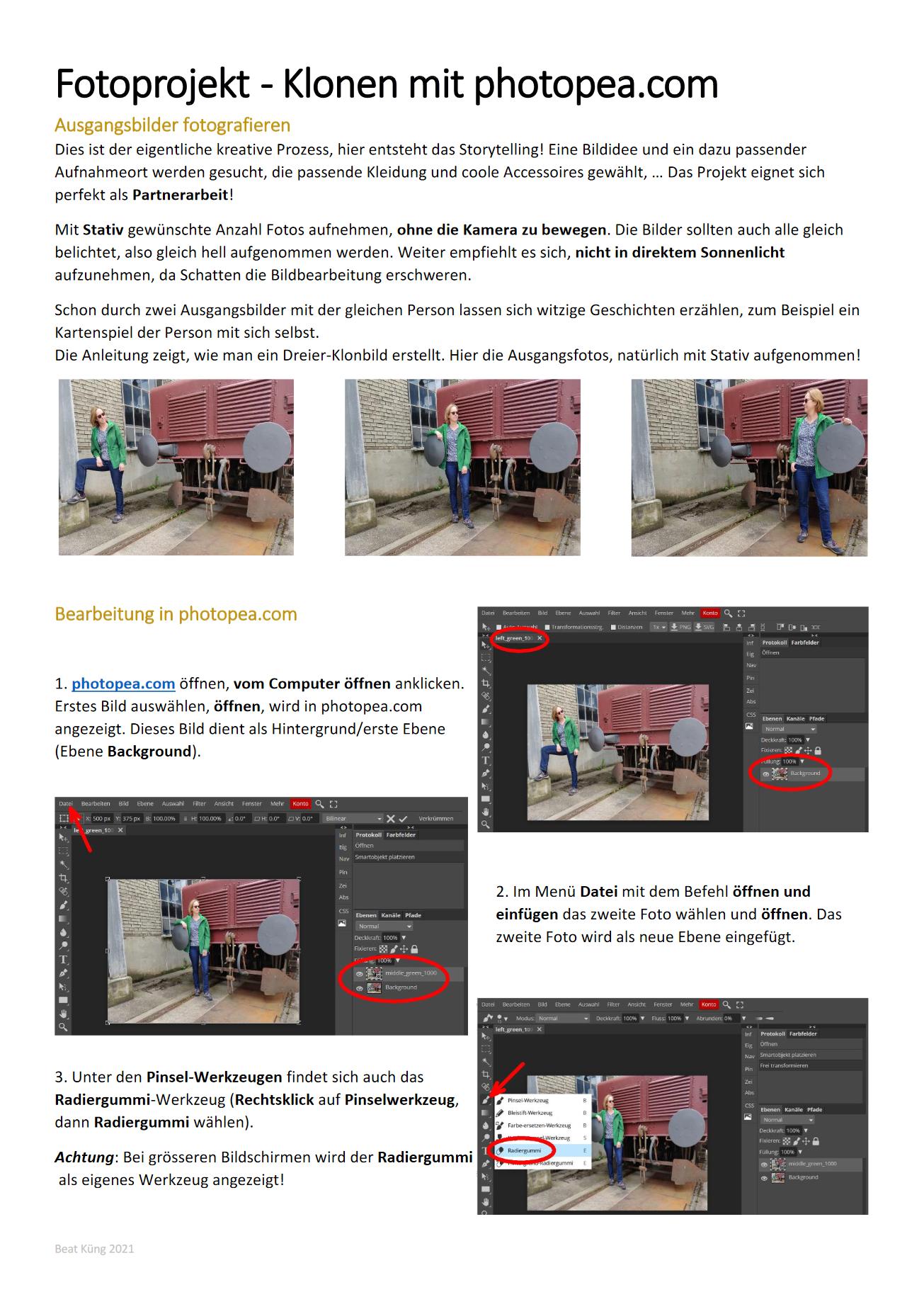 "Preview image for LOM object Fotoprojekt ""Klonen"" mit Anleitung für photopea.com"
