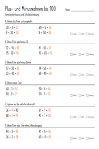 Preview image for LOM object Lernstandserfassung Addition und Subtraktion Ende Zyklus 1