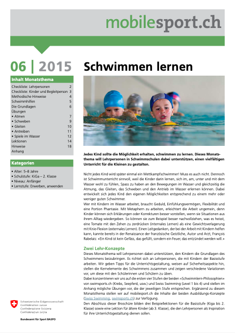 Preview image for LOM object Schwimmen lernen - mobilesport Monatsthema