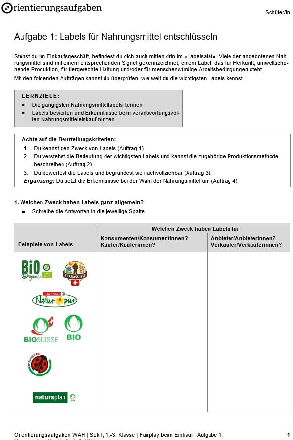 Preview image for LOM object Labels für Nahrungsmittel entschlüsseln