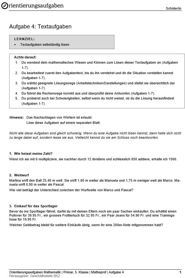 """Preview image for LOM object Textaufgaben: Orientierungsaufgaben """"Matheprof"""""""