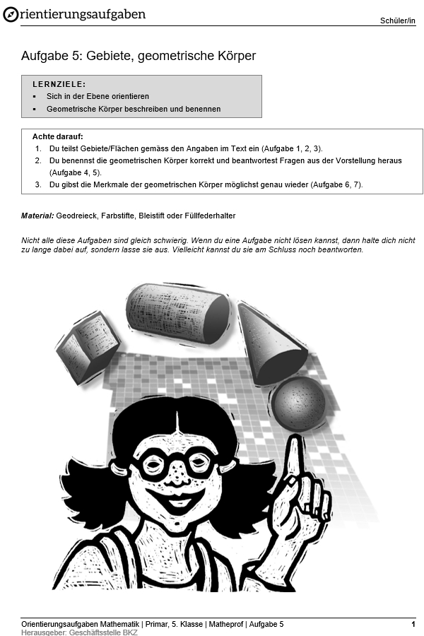 "Preview image for LOM object Gebiete, geometrische Körper: Orientierungsaufgaben ""Matheprof"""