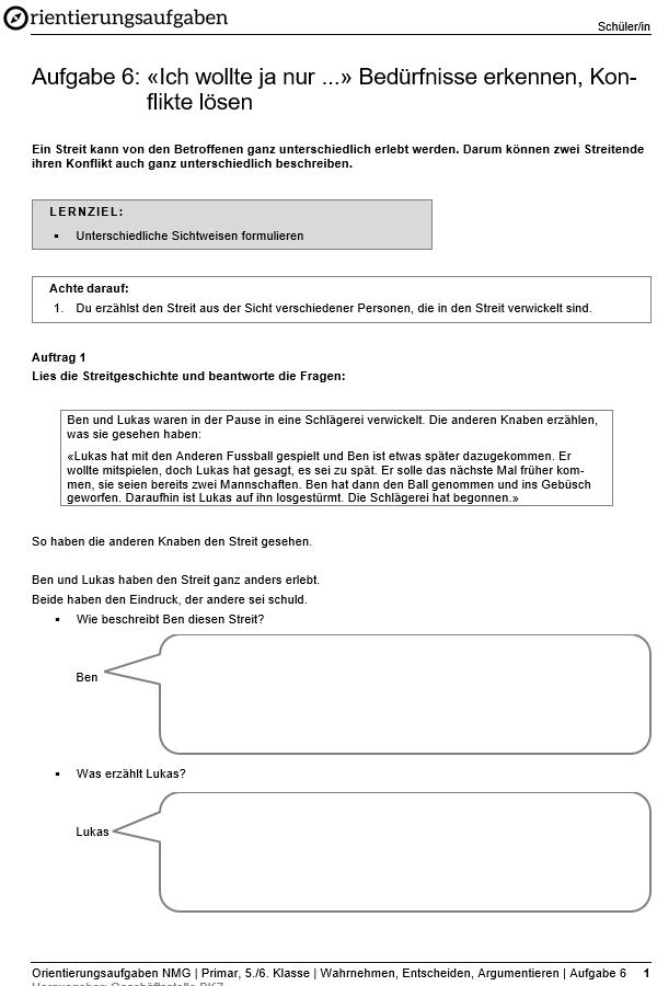 Preview image for LOM object «Ich wollte ja nur ...»  Bedürfnisse erkennen, Konflikte lösen