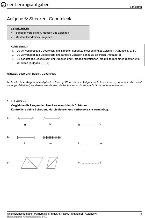 """Preview image for LOM object Strecken, Geodreieck: Orientierungsaufgaben """"Matheprof"""""""