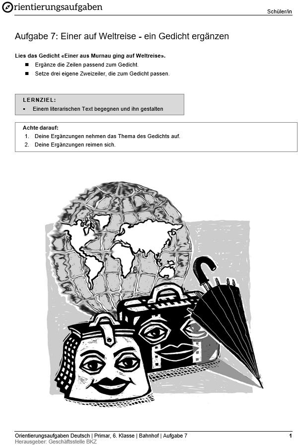 Preview image for LOM object Einer auf Weltreise - ein Gedicht ergänzen