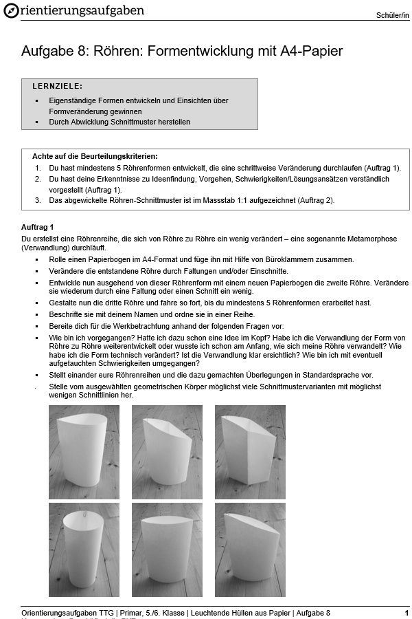 Preview image for LOM object Röhren: Formentwicklung mit A4-Papier