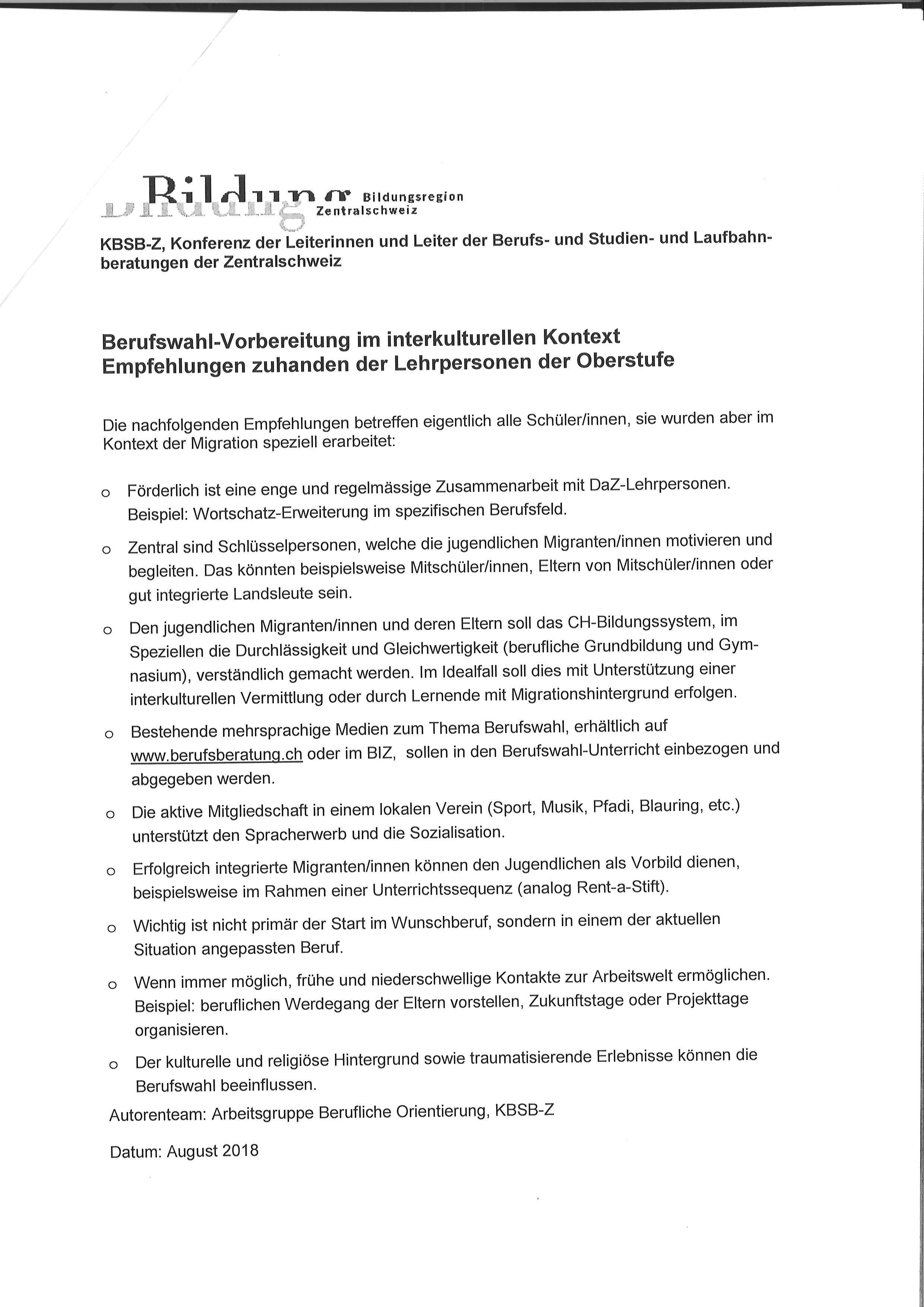 Preview image for LOM object Berufswahl-Vorbereitung im interkulturellen Kontext / Empfehlungen zuhanden der Lehrpersonen der Oberstufe