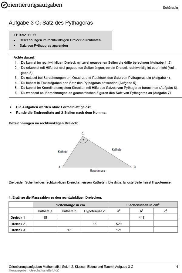 Preview image for LOM object Satz des Pythagoras (Grundansprüche)