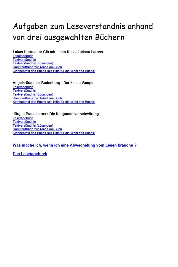 Preview image for LOM object Aufgaben zum Leseverständnis anhand von drei ausgewählten Büchern
