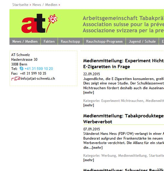 Preview image for LOM object Arbeitsgemeinschaft Tabakprävention Schweiz