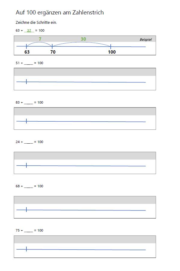 Preview image for LOM object Auf 100 ergänzen am Zahlenstrich