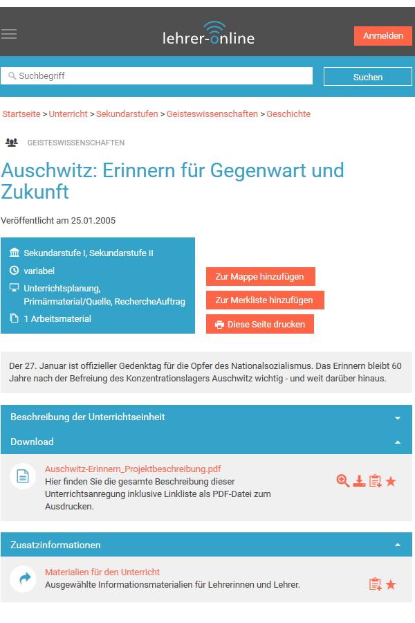 Preview image for LOM object Auschwitz: Erinnern für Gegenwart und Zukunft