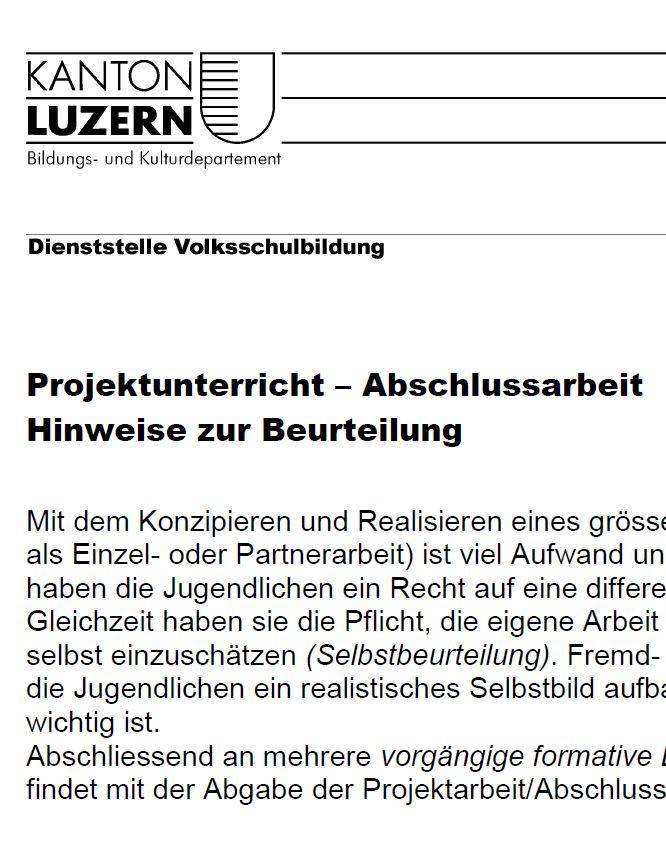 """Preview image for LOM object Merkblatt """"Beurteilung im Projektunterricht"""""""