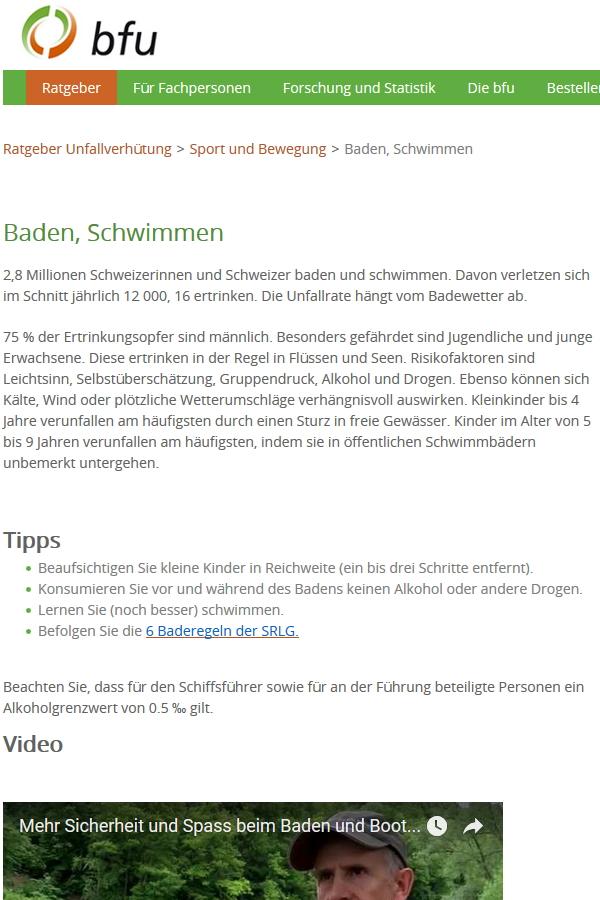 Preview image for LOM object bfu Ratgeber Sicherheit im Schwimmen und Baden