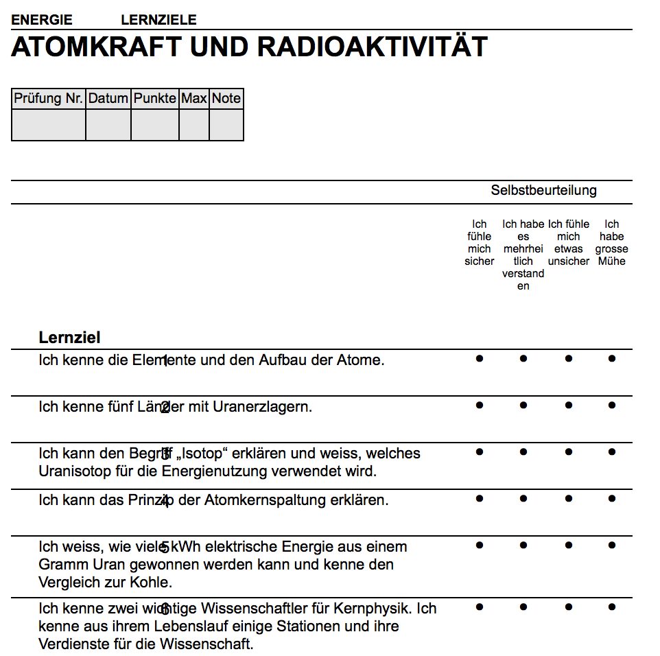 Preview image for LOM object Lernziele Atomkraft