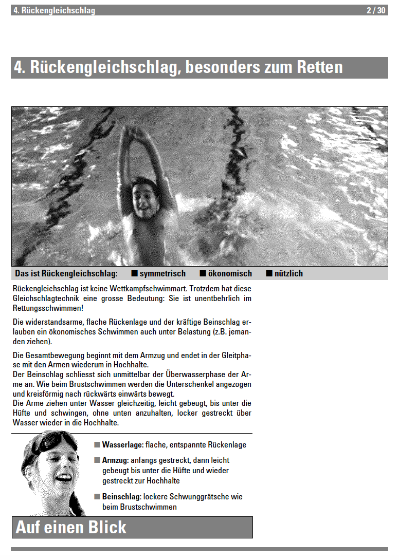 Preview image for LOM object Rückengleichschlag - Lehrmittel Schwimmen