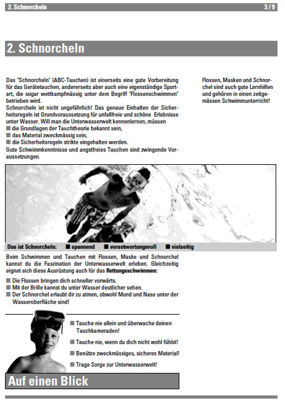 Vignette pour un objet LOM Schnorcheln (ABC-Tauchen) - Lehrmittel Schwimmen