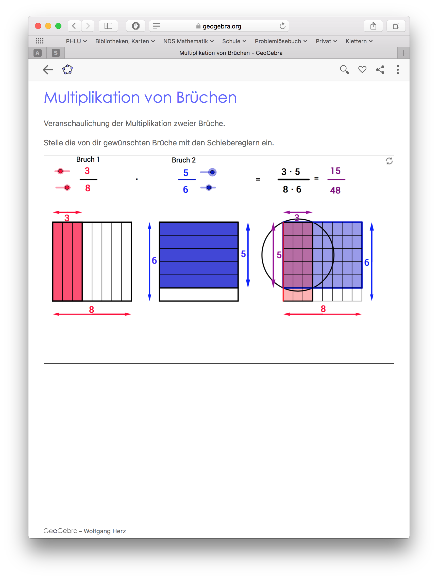 Preview image for LOM object Veranschaulichung der Bruchmultipikation mit Rechteckmodell in Geogebra