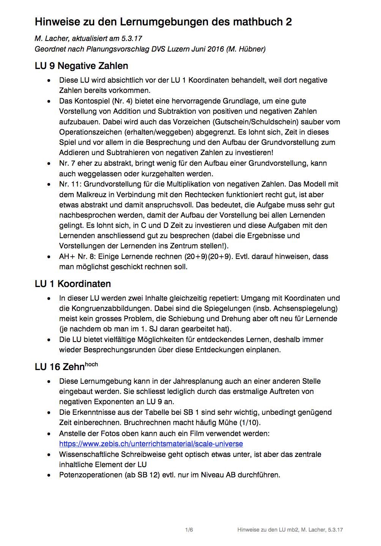 Preview image for LOM object Hinweise zu den Lernumgebungen im mathbuch 2