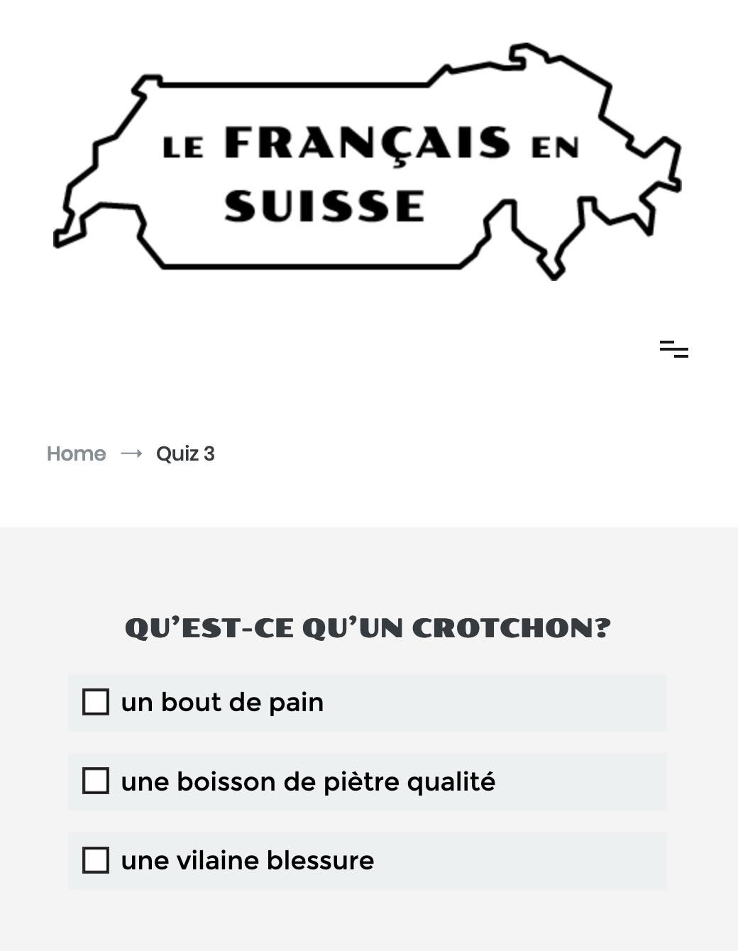 Preview image for LOM object Quiz: Französisch in der Schweiz