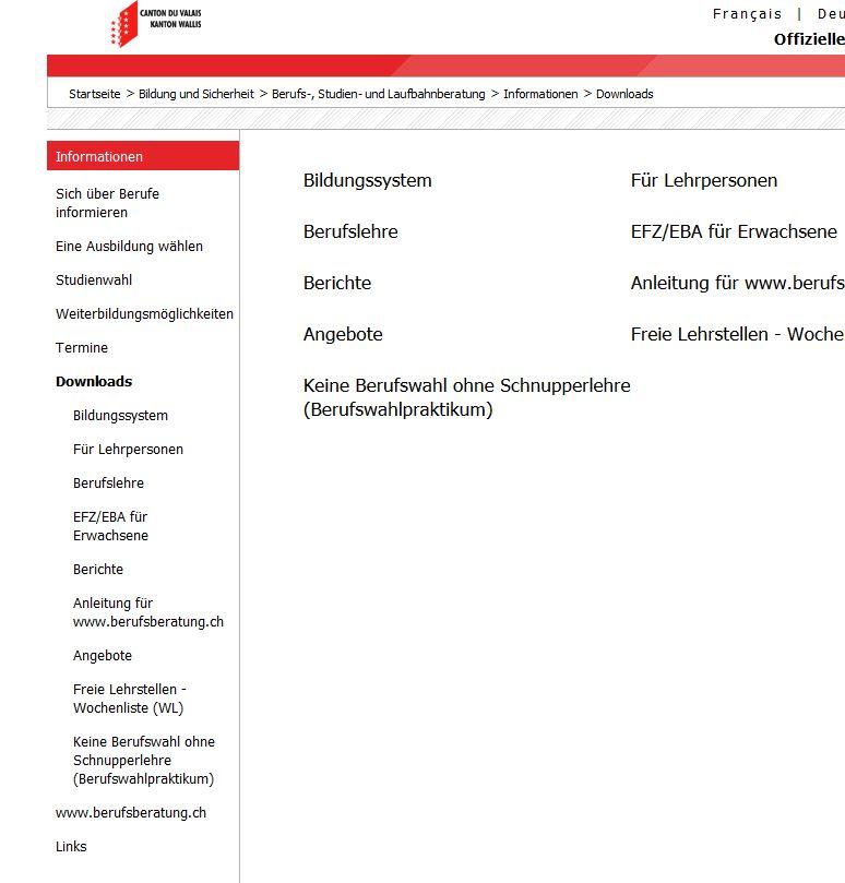 Preview image for LOM object  Berufs-, Studien- und Laufbahnberatung Kanton Wallis