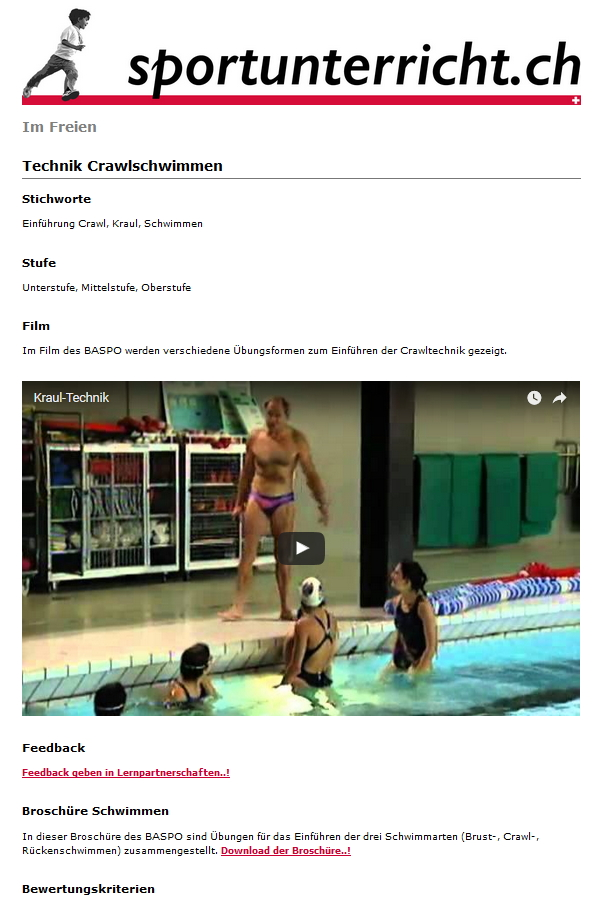 Preview image for LOM object Technik (-Video) Crawlschwimmen