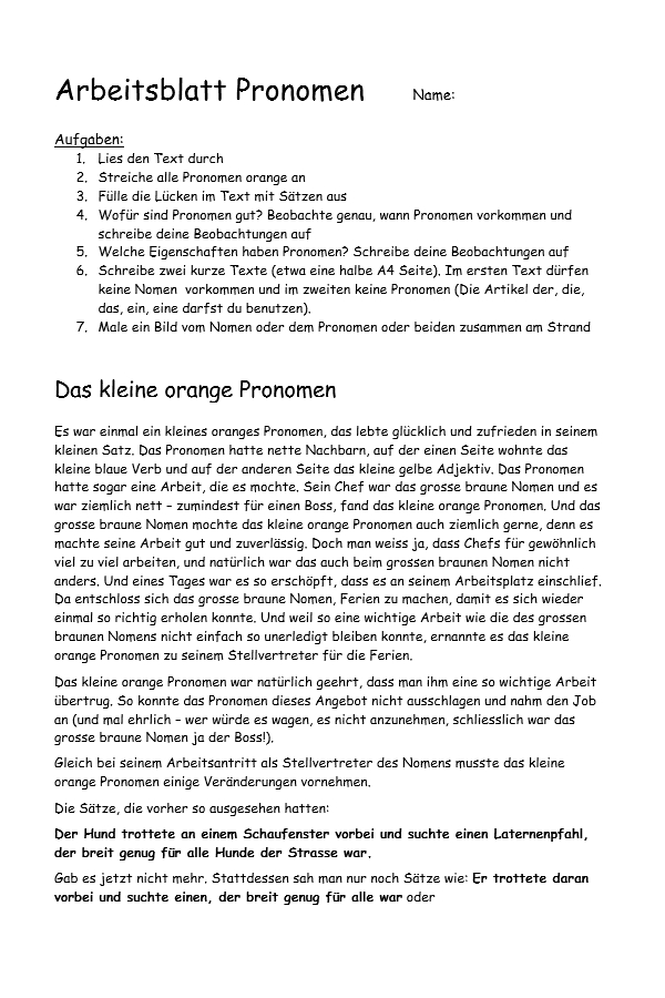 Preview image for LOM object Das kleine orange Pronomen