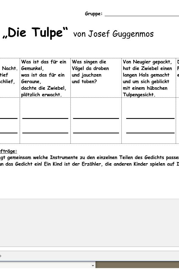 "Preview image for LOM object Gedicht ""Die Tulpe"" von J. Guggenmoos vertonen"