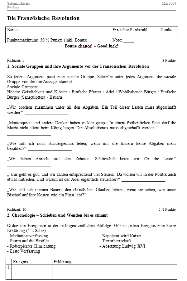 Preview image for LOM object Lernkontrolle zur Französischen Revolution