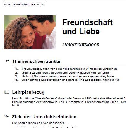 Preview image for LOM object Unterrichtseinheit zum Thema Freundschaft und Liebe
