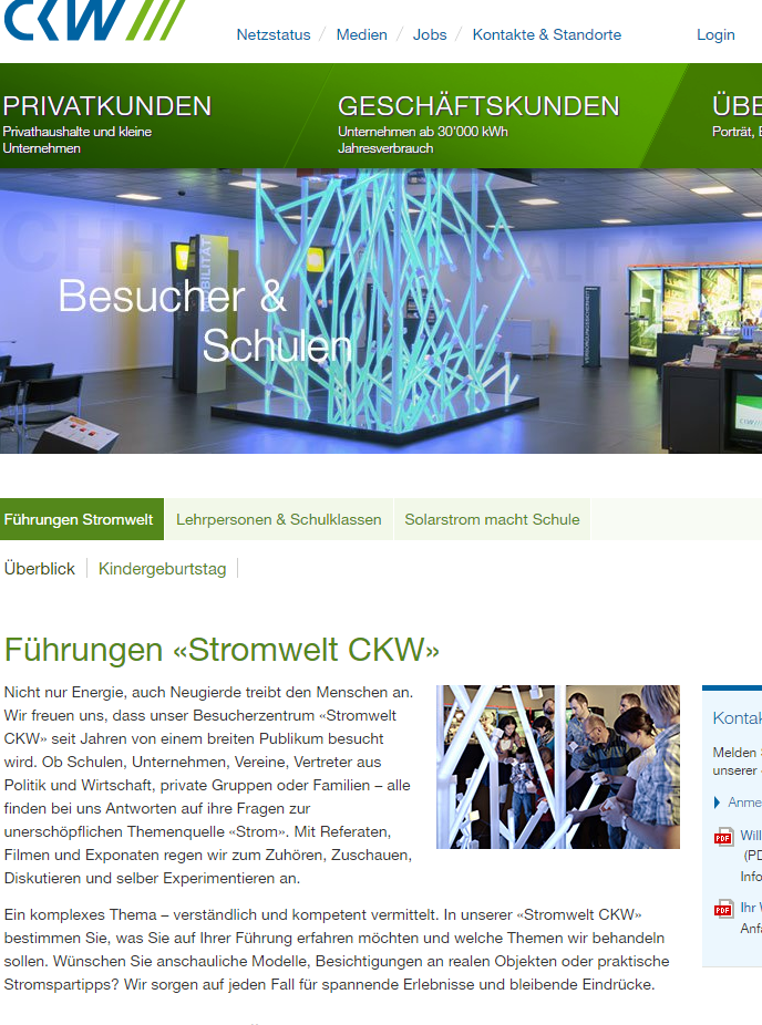 Preview image for LOM object Führungen «Stromwelt CKW»