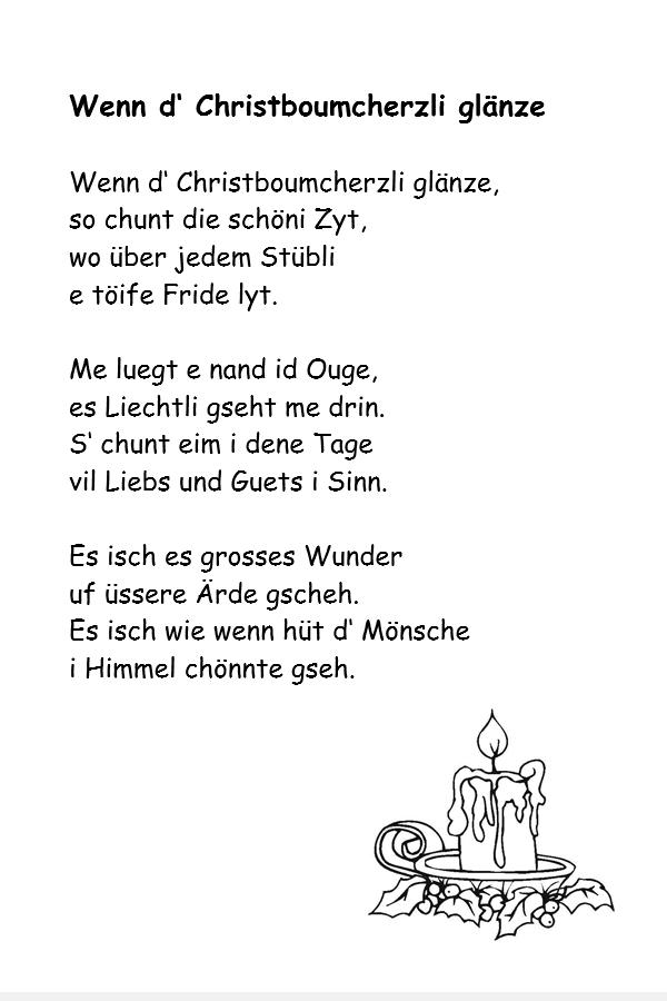 Weihnachtsgedichte schweizer dialekt
