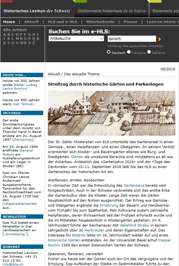 Preview image for LOM object Das historische Lexikon der Schweiz