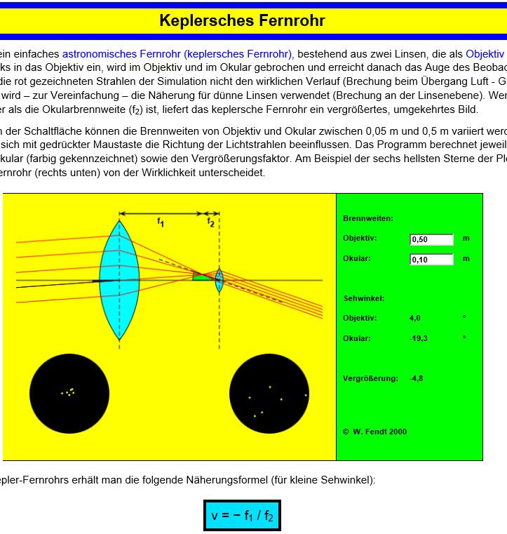 Preview image for LOM object Keplersches Fernrohr (Walter Fendt Simulationen)