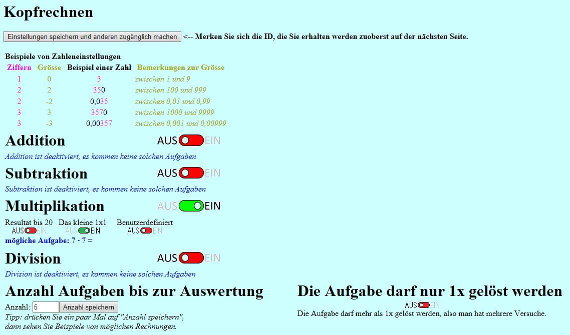 Preview image for LOM object Kopfrechnen online
