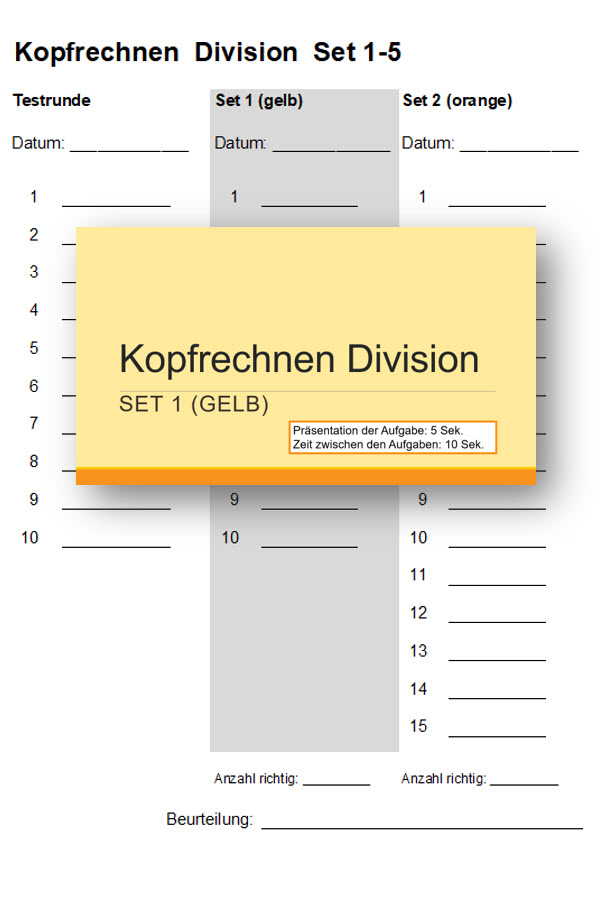 Preview image for LOM object Divisionensaufgaben des kleinen Einmaleins - Kopfrechnungs-Tests mit Powerpoint-Präsentation
