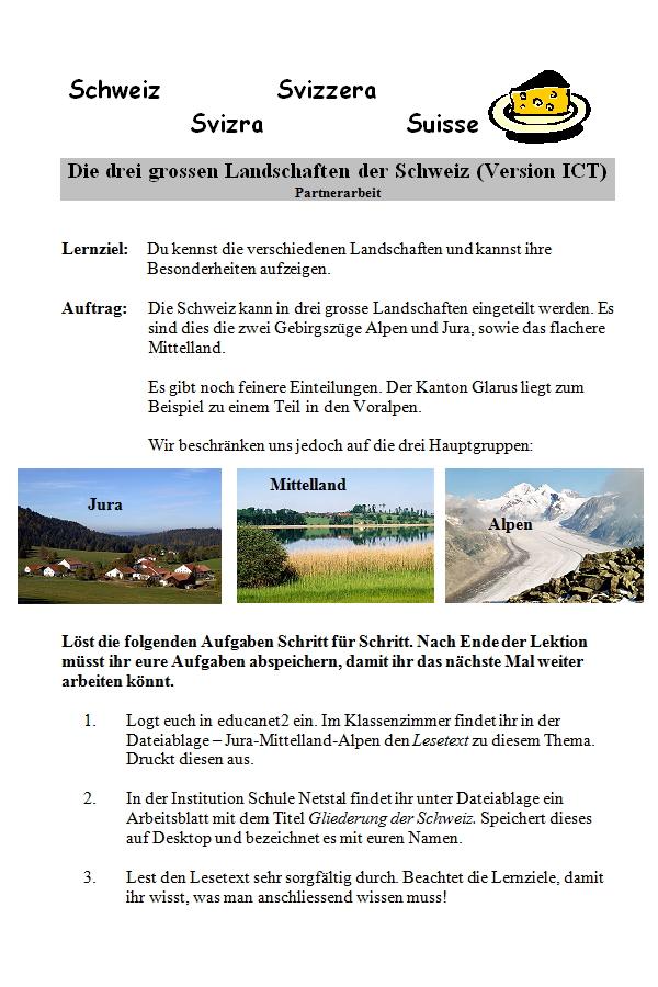Preview image for LOM object Die drei grossen Landschaften der Schweiz