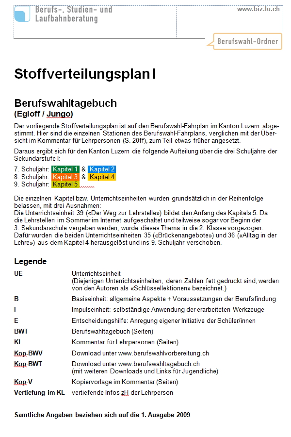 Preview image for LOM object Stoffverteilungsplan Berufswahl Kanton Luzern