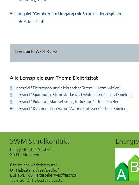 Preview image for LOM object Lernspiele zur Elektrizitätslehre