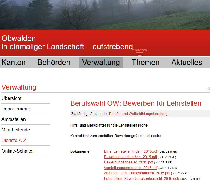 Preview image for LOM object Bewerben für Lehrstellen (Kanton OW)