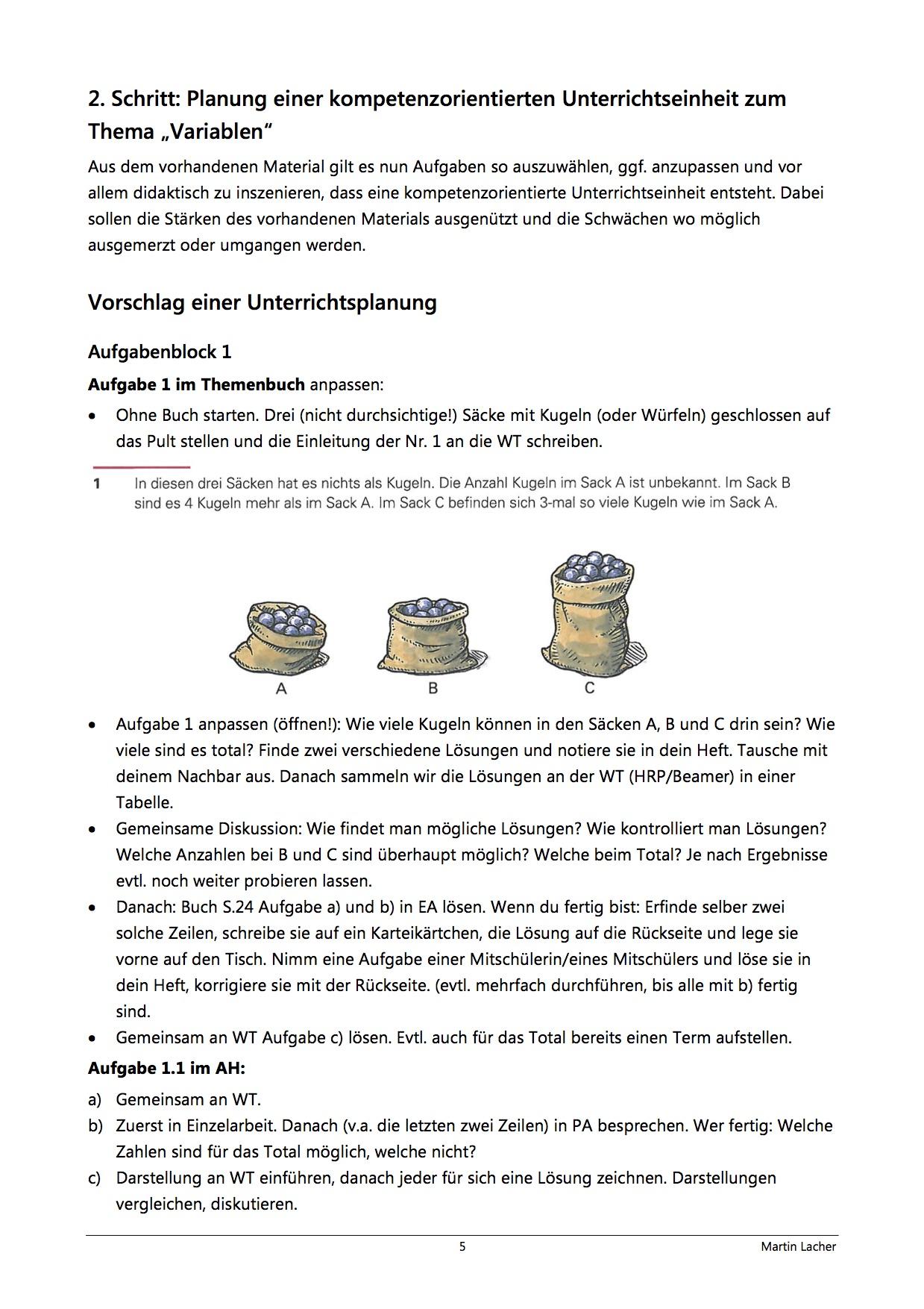 Preview image for LOM object Planung einer kompetenzorientierten Unterrichtseinheit zu Variablen