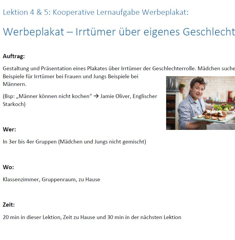 Preview image for LOM object Unterrichtseinheit Geschlechterrollen